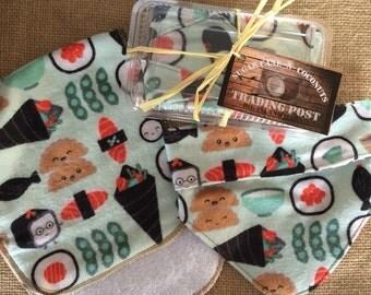 Sushi baby bandana bib and burp cloth gift set