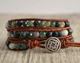 Earthy bohemian beaded bracelet. Boho chic natural triple wrap bracelet