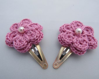 Crochet flower hair clips, hair clips, crochet hair clip