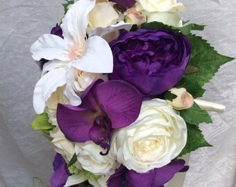 Artificial Silks Purples Greens Creams Roses Bridal Flower Bouquet