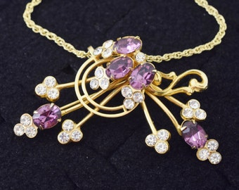 Vintage Rhinestone Necklace Brooch Combo Purple Clear ~ Lot 9953