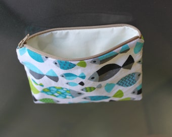 Fish  print make up bag , accessory bag, phone pouch, purse. 6.5 inches long x 5 inches deep
