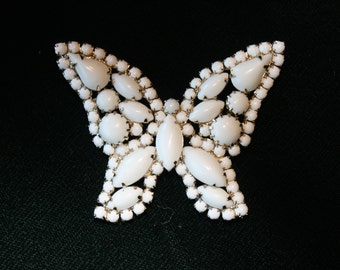 Vintage Milk Glass Butterfly Brooch Pin Gold Tone Setting