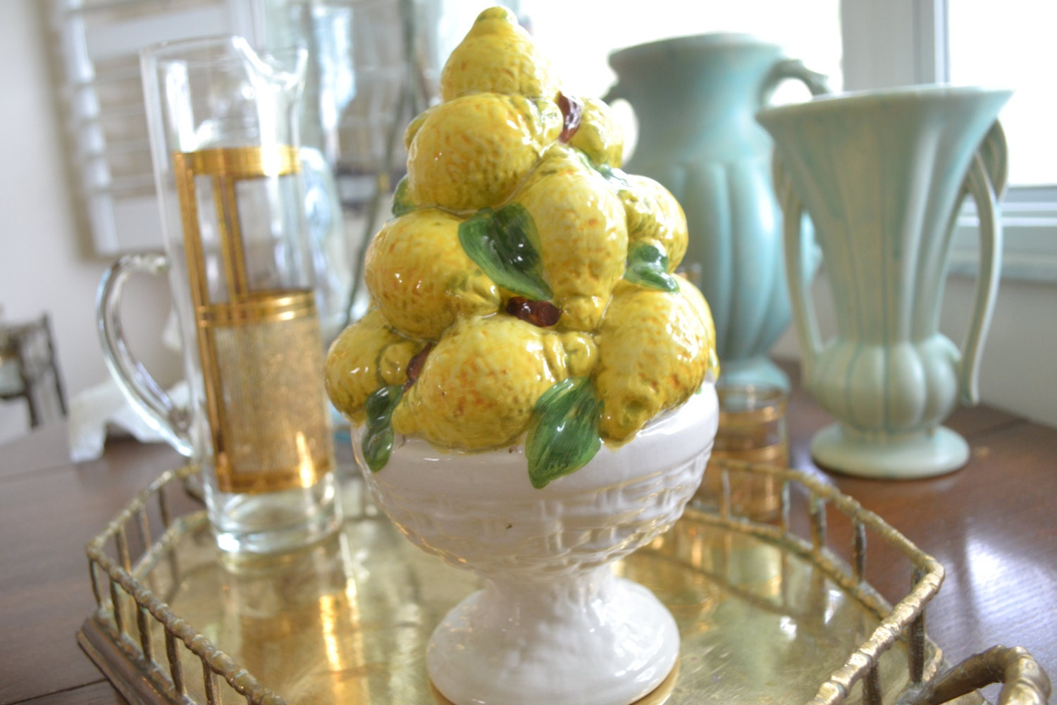 Vintage Ceramic Lemon Topiary Fruit Basket Italian