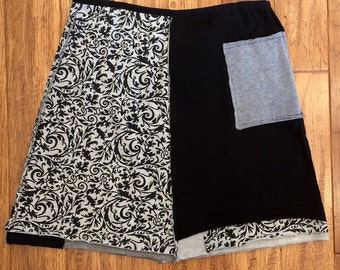 Upcycled Tshirt Skirt, tshirt skirt, upcycled clothing, Size Large, recycled skirt, repurposed clothing,