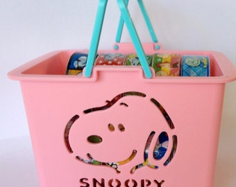 SALE Snoopy/Peanuts Deco Tape (Plastic Tape) Assortment Basket In PINK  Set of 10 Rolls  15mm X 10 meters