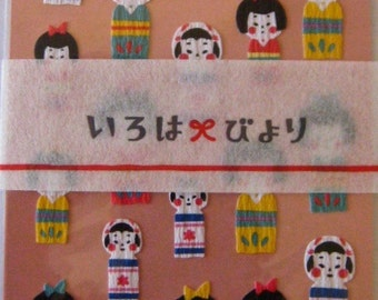 "CLEARANCE New Japan Series Stickers by Mind Wave ""Kokeshi Dolls"" Printed on Traditional Textured Paper."
