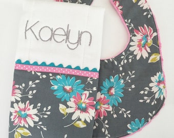 Modern Baby/Toddler Bib and Burp Cloth Set...Grey Flowers...Burp Cloth Personalized...Shower Chic