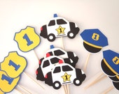Police Party Cupcake Toppers  Police Car Badge Police Hat by FeistyFarmersWife