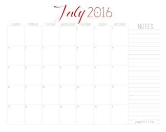 L E L E - 2016 Monthly Calendar - 1/2 Year (July 2016 - December 2016 ) printable / pdf