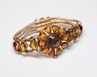 1940s Retro 14k Rose Gold and Citrine Watch - Pierre Grange Co. -  17 Jewel - Keeps Time - SHOWSTOPPER