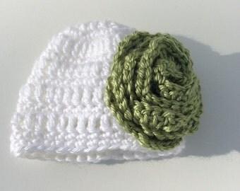 Premie hat, baby girl hat, white hat with flower
