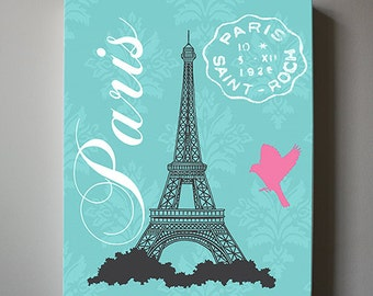 eiffel tower canvas art paris bedroom decor girls room decor teen or girl nursery - Eiffel Tower Decor For Bedroom