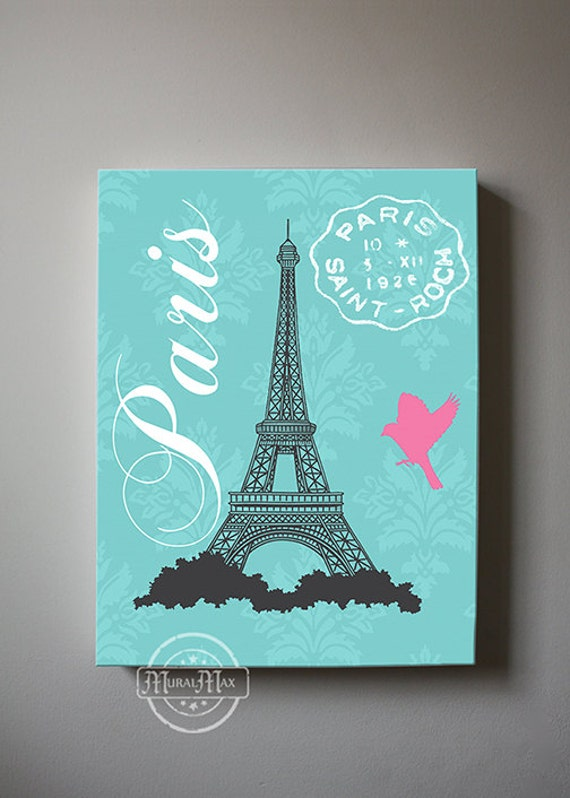Eiffel Tower Canvas Art Paris Bedroom Decor Girls Room Decor