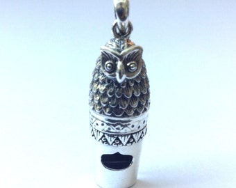 925 Sterling Silver Victorian Style Owl Bird Whistle Pendant Charm