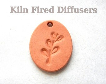 Botanical Aromatherapy Essential Oil Diffuser Leaf Pendant, Kiln Fired Ceramic Oval Unglazed Bisque Jewelry making