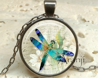 Blue dragonfly art pendant, dragonfly necklace, dragonfly necklace, dragonfly pendant, dragonfly jewelry, dragonfly, Pendant #AN205GM