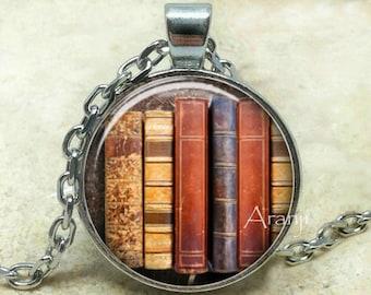 Book pendant, book necklace, book jewelry, bookshelf necklace, bookshelf pendant, gift for bookworm Pendant#HG157P