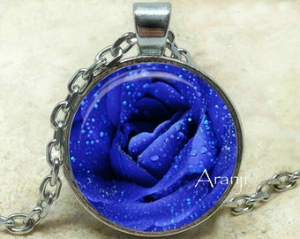 Blue rose art pendant, blue rose necklace, blue rose pendant, bright blue rose, blue, rose pendant, mom gift, blue flower, pendant #PL102P