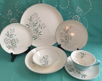 Vintage Taylor Smith Taylor PETAL LANE China* Homemakers Set Of Dinnerware *7 Piece Place Setting* Single Service Set Of China