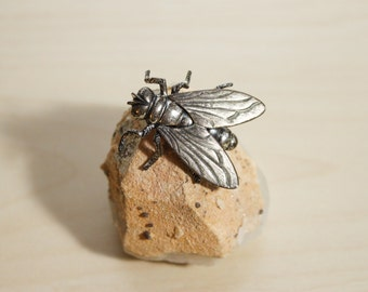 Signed 'Beau Sterling' Silver Figural Fly Insect Jewelry Brooch