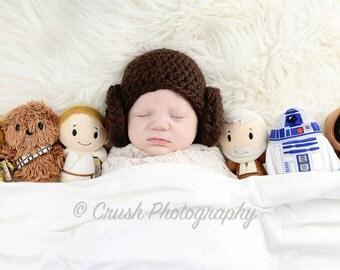 Star Wars Princess Leia inspired hat, Newborn Photo Prop, Baby Shower Gift, Costume, Princess Leia Hat, Star Wars, Newborn Hat,