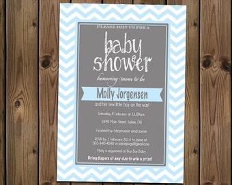 Baby Boy Shower Blue Chevron Invitation, Digital File,  PRINTABLE _1181