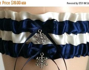 Sale Navy Blue and Ivory Wedding Garter Set, Bridal Garter Set, Keepsake Garter, Prom Garter
