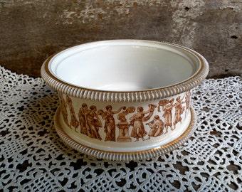 Florentine Italy Open Bowl, Planter, Open Casserole Dish, Porcelain, Gold Brown Transferware, Serving, Buffet Dish, Greek
