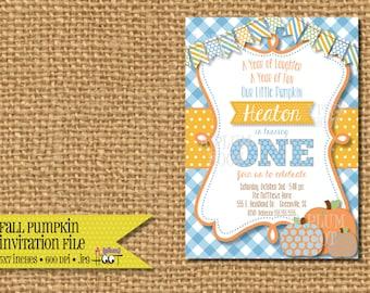 Fall/Pumpkin Birthday or Baby Shower Invitation (5x7, DIY, Printable)