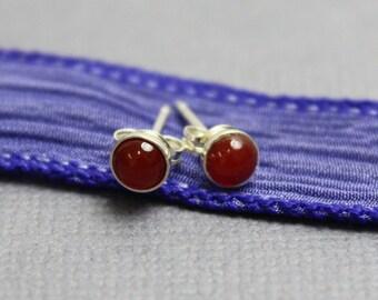 Tiny Red Carnelian Earrings, Carnelian Stud Earrings, Carnelian Post Earrings, 4mm Red Earrings, Red Studs, Red Earrings, Kathy Bankston