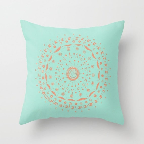 Blue Coral Throw Pillow : Blue Coral Mandala Throw Pillow Cover blue mandala pillow