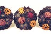 Curtain Tiebacks Vintage set of 3 Cast Iron Cottage Floral Decor