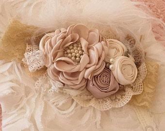 Flower Headband | Ivory Headband | Champagne Headband | Vintage Flowers Headband | Pearl Headband | Lace Headband | Flower Girl Headband