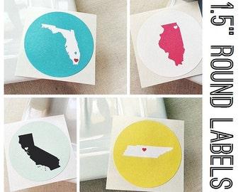 "1.5"" Custom Envelope Seals. Wedding Stickers. Destination Stickers. State Shape Stickers Labels. Wedding Invitation Seals. Custom Stickers"
