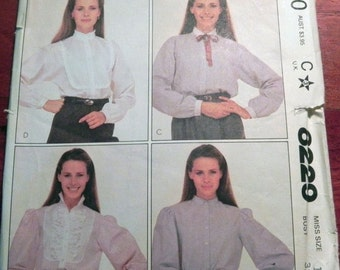 """SALE 1980s Button Front Steampunk Blouse Shirt sewing pattern McCalls 8229 Size 10 Bust 32.5"""""""