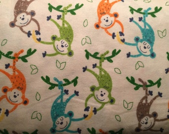 FLANNEL - Colorful Monkeys Fabrics - Colorful Monkeys Flannel - Monkeys and Bananas Fabric - Monkeys and Bananas Flannel - Zoo Fabric