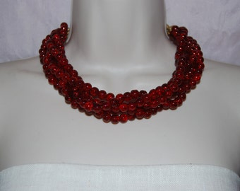 Dark Red Statement Necklace Beaded Necklace Chunky Red Glass Bead Necklace Bold Bridesmaids Necklace Wedding Jewelry