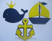 6 Nautical (3 size options) Theme Decorations, Diecut Cutouts, for Diaper Cake, Centerpiece, Birthday Party, Baby Shower, Yellow Navy Blue