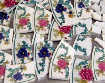 Broken China, Mosaic China, Mosaic Supplies, Floral Focal, Hand Cut, Floral China