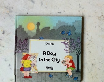 Vintage children book, travel book, journey, boat, plane, in the city