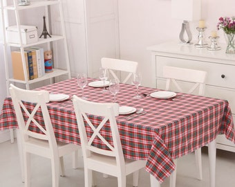Tablecloth 100% Cotton Grid Tablecloth Custom sizes available