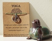 Buy5Free1~ Yoga Wish Bracelet, Yoga Friendship Bracelet, Reminder Bracelet, Tree pose, Yoga Gifts, Yoga poses, gift for yogi, Yoga Asana, OM