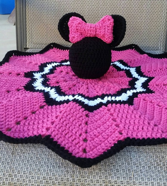 Crochet Pattern For Minnie Mouse Blanket : Crochet Minnie Mouse Lovely/Security Blanket