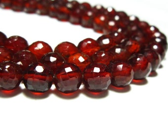 """AA-Hessonite Faceted Disco Round Bolls- 8""""Strand -Stones measure- 7mm"""
