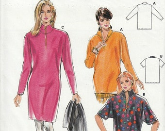 Pull Over Turtle Neck Dress Top Sewing Pattern Zipper Closure Easy to Sew Size 10 - 22 Plus Size Included Vintage 90's Burda 4685 Uncut