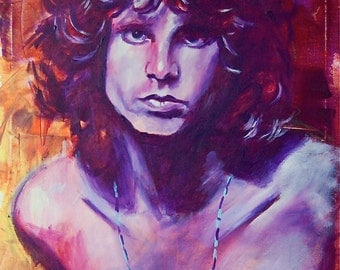 Jim Morrison The Doors Giclee 12x18 Poster Musician Guitar Celebrity Print Wall Art Colorful Abstract Pop Art