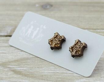 Wood Hogwarts crest Harry Potter Laser Cut Stud Earrings - Gifts for her - Australian Seller