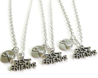 3 Best Friends Necklaces, 3 Pinky Promise Best Friends Necklaces, 3 Best Friends Jewelry, Pinky Promise Necklaces, Three Best Friend Jewelry