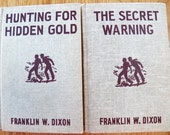 Vintage Lot 2 HARDY BOYS~Hunting For Hidden Gold & The Hidden Warning~F W Dixon